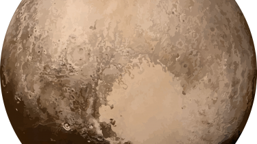 A photo-illustration of Pluto based on a 2015 image from the New Horizons spacecraft