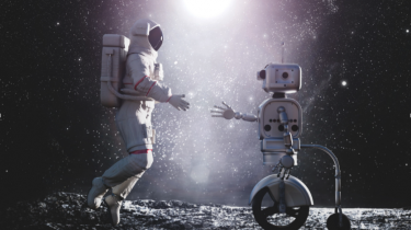 Robot and human in astronaut suit shaking hands on the lunar surface